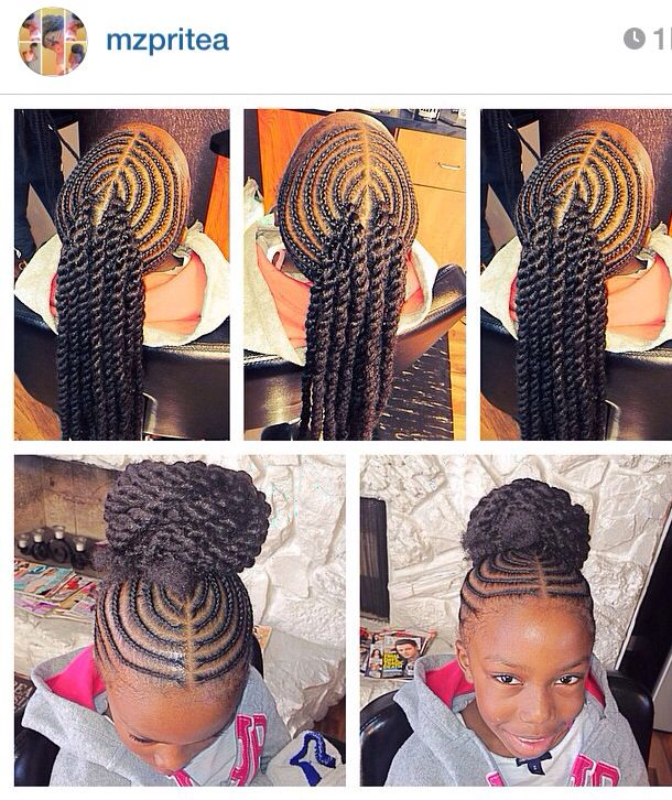 Corn Rowed Hair With Extension Twists Into A Bun