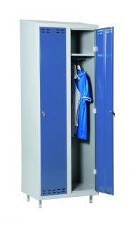 Klädskåp 2-dörrars, blå, 1920/1830x700x550 mm Klädskåp för förvaring av personalens personliga tillhörigheter.  Tvådörrars med möjlighet att välja till bänk och/eller ben.