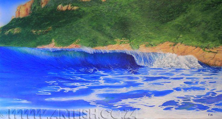 The Wreck. Crystal clear surf break on Robberg Beach. Original acrylic on canvas. H820 x W1520mm.