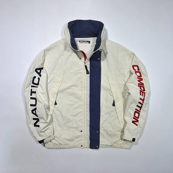 Rare Vintage 80s 90s Nautica Competition Windbreaker Jacket Nautica Sailing Gear White Jacket Retro N Vintage Windbreaker Windbreaker Ralph Lauren Menswear