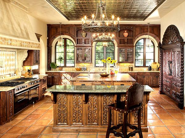 Spanish colonial kitchen hand carved cabinets colonial revival project pinterest Kitchen design colonial home