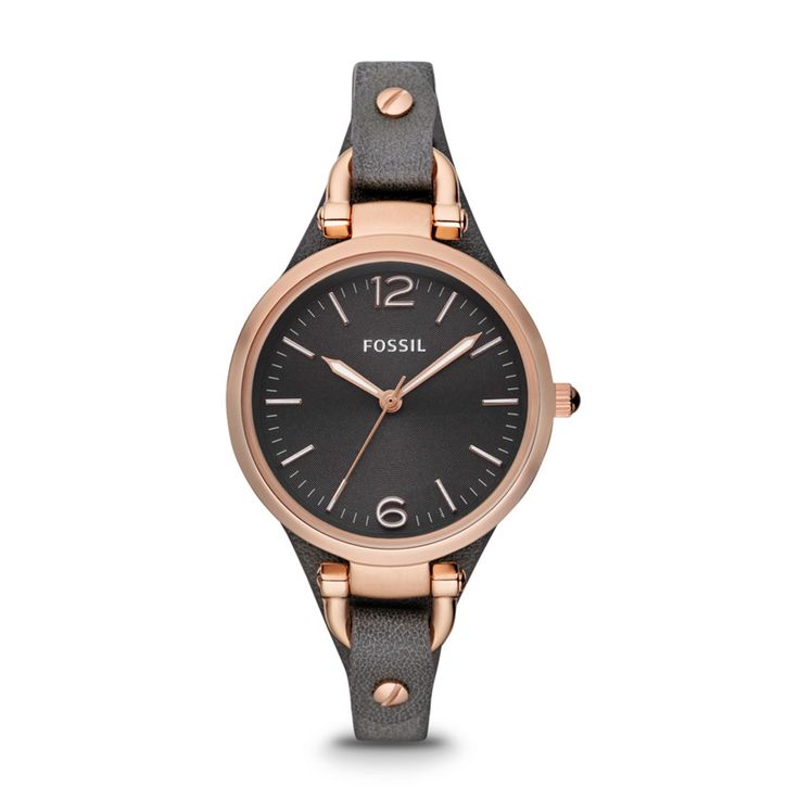 Fossil Georgia Three Hand Leather Watch – Smoke and Rose ES3077 | FOSSIL®