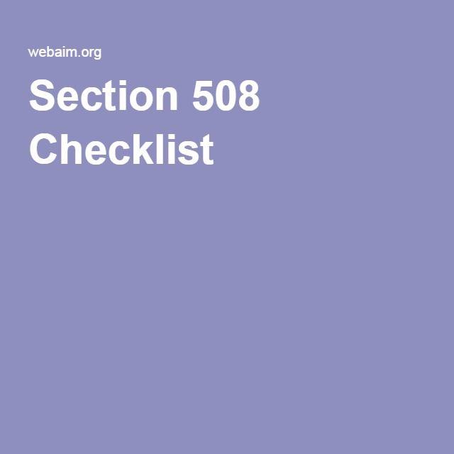 Section 508 Checklist
