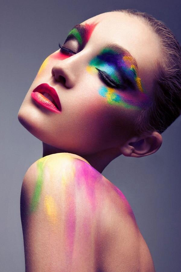 Colorful Beauty. Aimee. One side water color. one side dark sparkled stripes up and down face/neck.