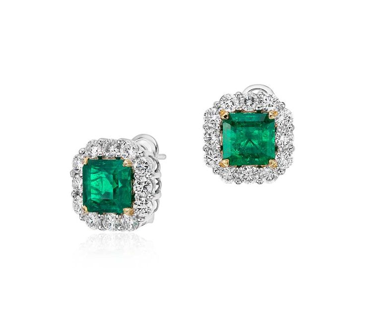 Square Cut Emerald and Diamond Classic Halo Earrings in #Platinum | #Jewelry #Fashion