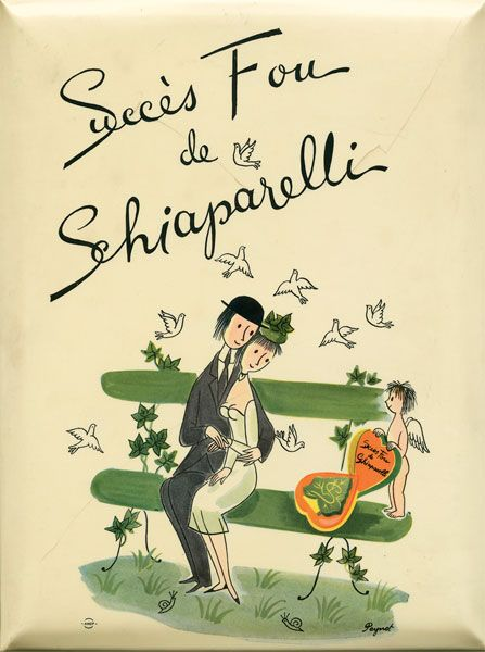 Illustration by Raymond Peynet for the Schiaparelli's 'Succès Fou' perfume, launched in 1952.