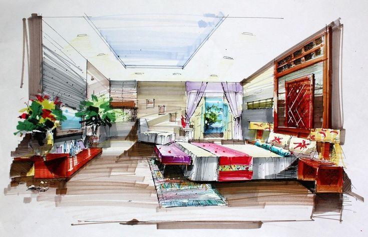 Hand draw interior design for bedroom