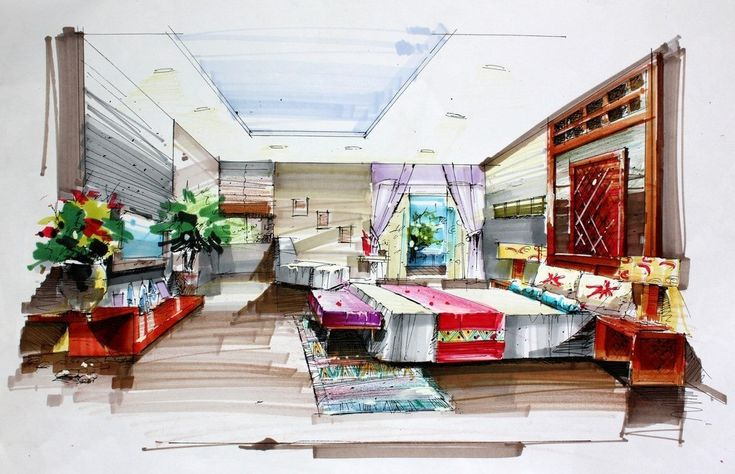 Hand Draw Interior Design For Bedroom Sketch Pinterest Hand