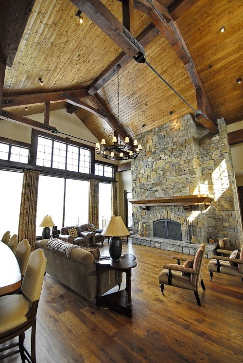 Exposed beam vaulted ceiling barn house a frame home for Vaulted ceiling with exposed beams