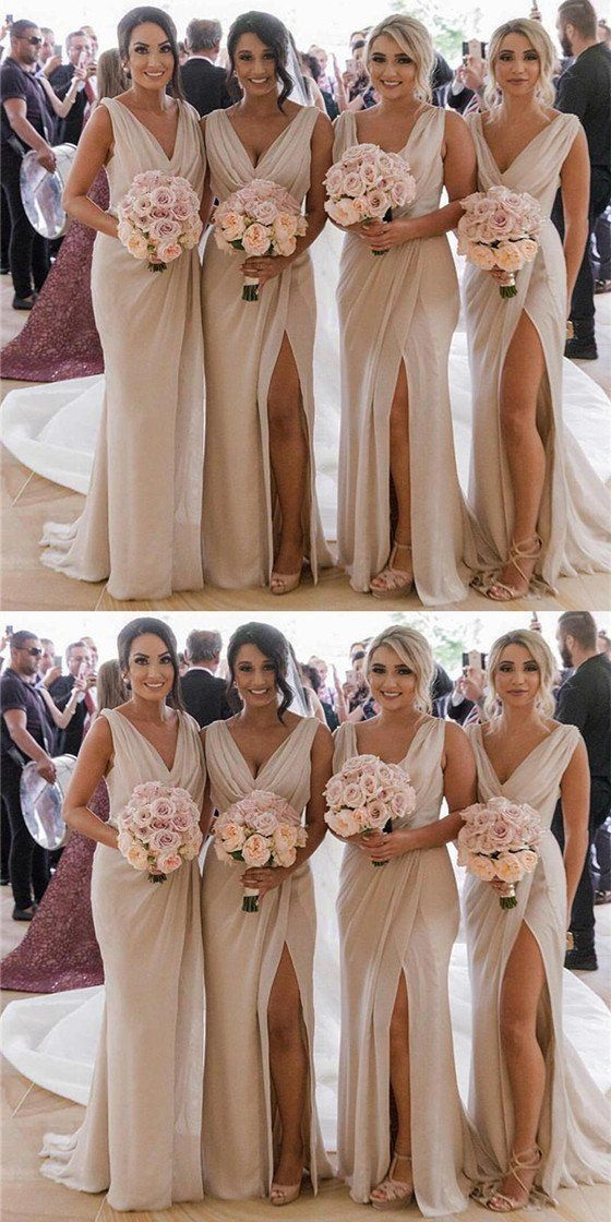 Mermaid V Neck High Split Cheap Bridesmaid Dresses With Pleats