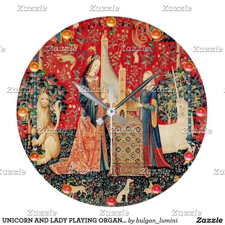 UNICORN AND LADY PLAYING ORGAN,ANIMALS Red Green Large Clock #horses #homedecor #clocks #medieval #antique #music