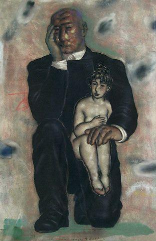 Svein Bolling <em>Påkledd mann og naken kvinne</em><br />pastell, 121x80 cm
