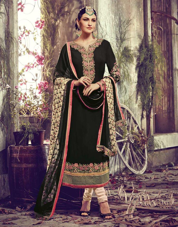 Tantalizing Black Colored Embroidered Faux Georgette Wedding Salwar Kameez Shop: https://goo.gl/jUrIx3