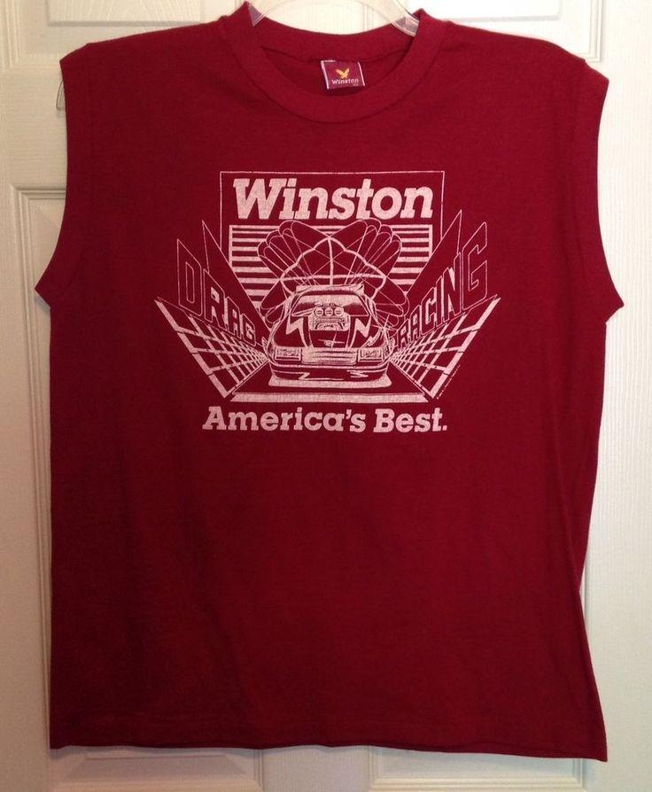 VTG 1984 Winston Drag Racing T Shirt XL Red Sleeveless RJ Reynolds Made in USA #Winston #GraphicTee #DragRacing