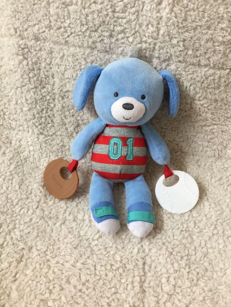 CARTER'S Blue PUPPY Dog Teether Toy RATTLE Red Gray Stripes 01 Baseball Football #Carters
