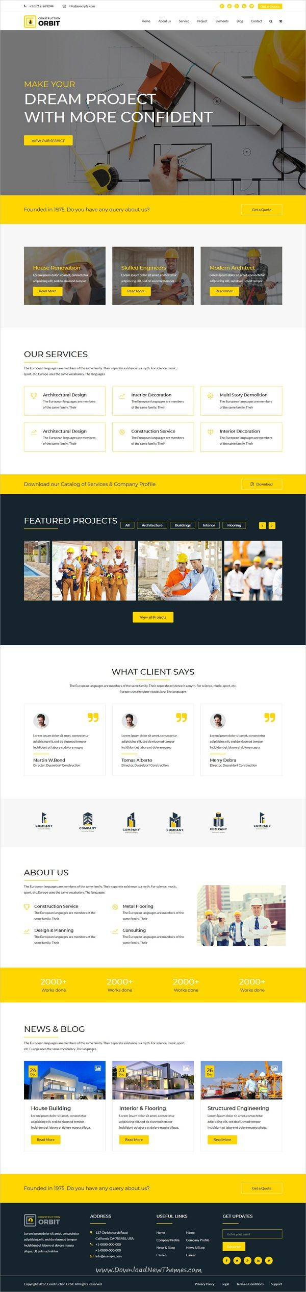 Construction Orbit is clean and modern design 5in1 responsive bootstrap template for #architecture and #construction #building company website to live preview & download click on Visit