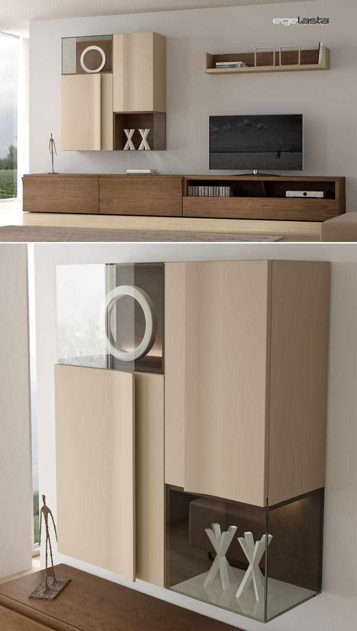 Muebles · egelasta · live · mueble · madera · moderno · comedor · estanterías correderas · roble cuero · laca visón