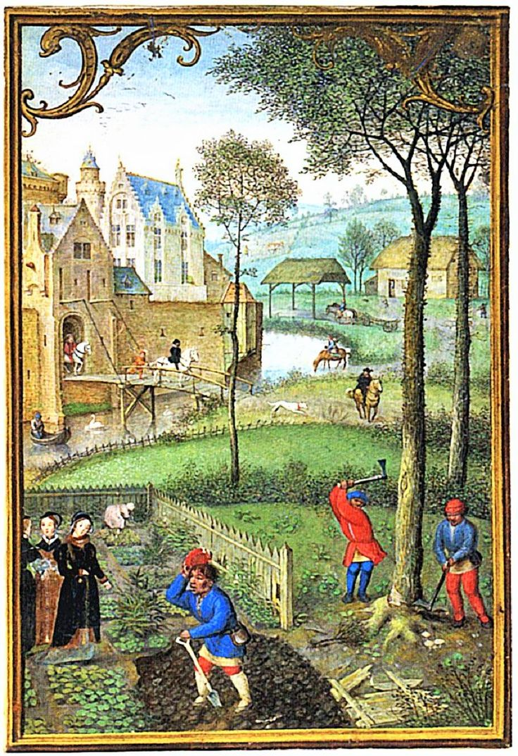 Repairing the picket fences in a 1500s Garden. Illuminated by Simon Bening. Bruges, probably late 1540s or early 1550s. British Library.