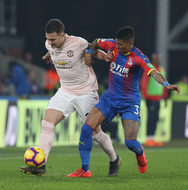 Diogo Dalot Of Manchester United In Action With Patrick Van Aanholt Manchester United Manchester Premier League Matches