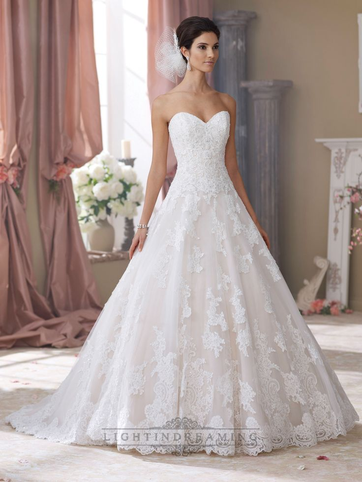 Strapless Sweetheart Lace Liques Ball Gown Wedding Dresses