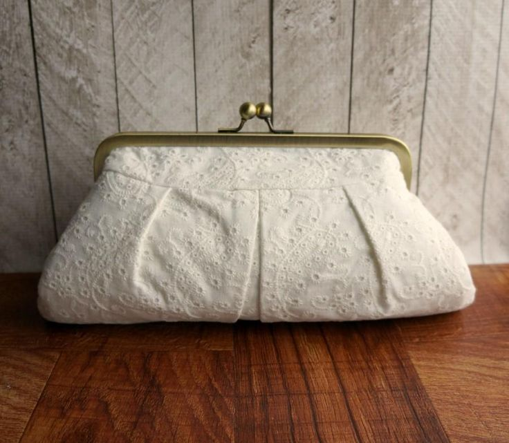 Wedding clutch, bridal bag, cotton framed clutch, off-white clutch purse, eyelet fabric