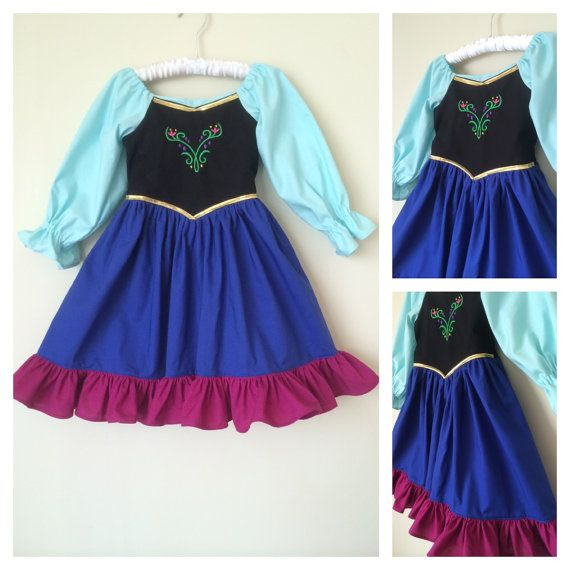 Frozen Princess Anna Inspired Cotton Everyday Princess Dress- sizes 3m 6m, 12m, 18m, 2, 3, 4, 5, 6, 7, 8,10, 12