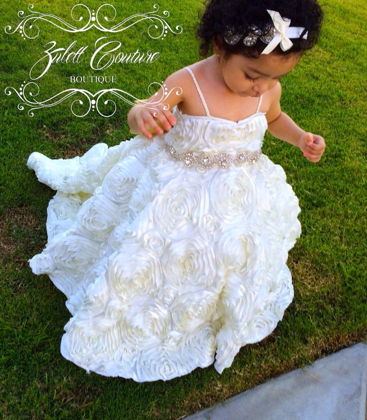 Baptism Dress - Mini Bride Dress - Flower Girl Dress - Rosette Dress - Big Bow Dress - Wedding Dress - Sunday Rose by Zulett Couture by ZulettCouture on Etsy https://www.etsy.com/listing/194096399/baptism-dress-mini-bride-dress-flower
