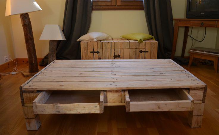 Tuto Meuble En Palette De Bois : Table basse en palettes : 7 tutos pour vous inspirer ! DIY