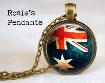 Australian Flag Jewelry - Australia Jewellery - Australian Flag Necklace - Flag of Australia Pendant - Commonwealth - Down Under