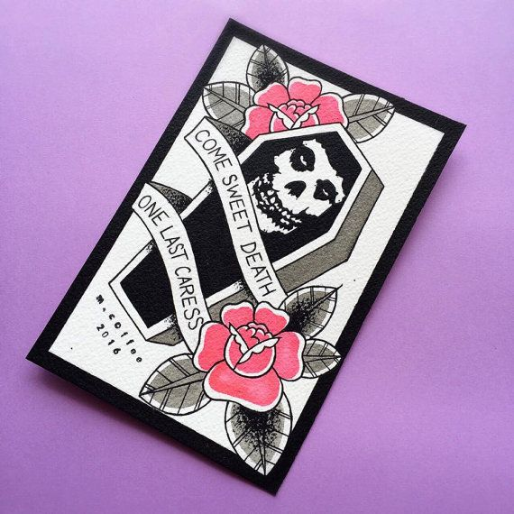 One Last Caress Misfits Tattoo Flash Print by Michelle Coffee
