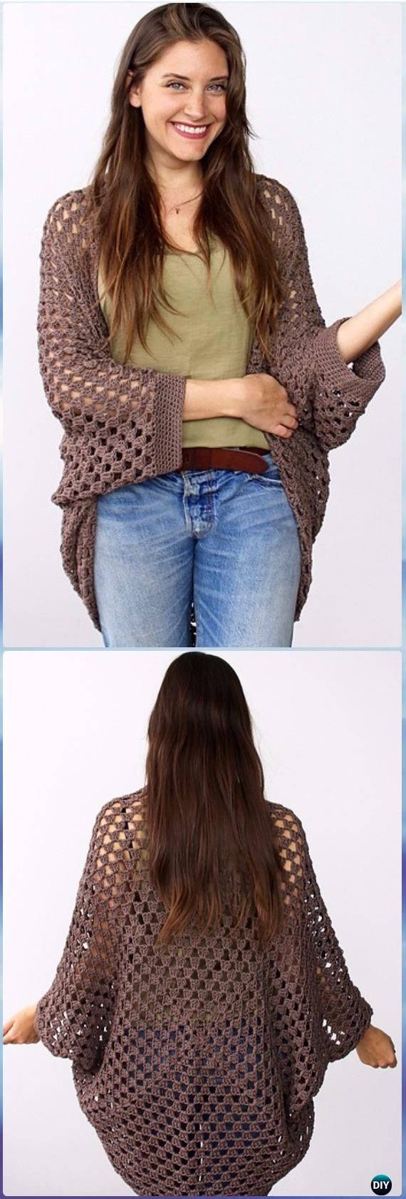 Crochet Movie Night Cocoon Cardi Free Pattern - #Crochet; Women #Shrug; Cardigan Free Patterns