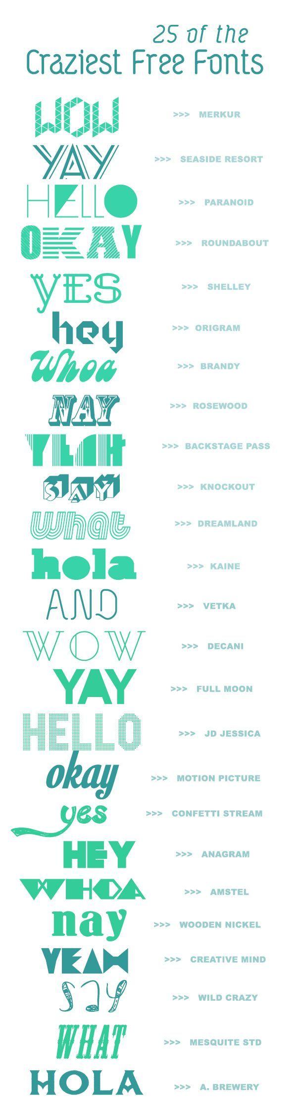 25 Crazy Creative Fonts Free! |  A Subtle Revelry (8.28.13)