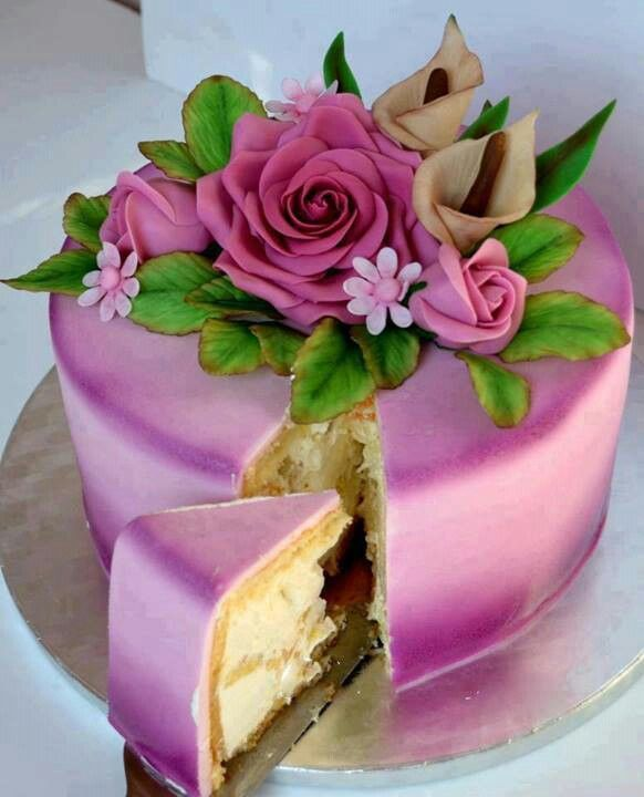 Pink flower cake: Pink Flower, Pink Roses, Roses Cakes, Beauty Cakes, Pink Cakes, Flower Cakes, Cakes Pastries, Celebrity Cakes, Creative Cakes