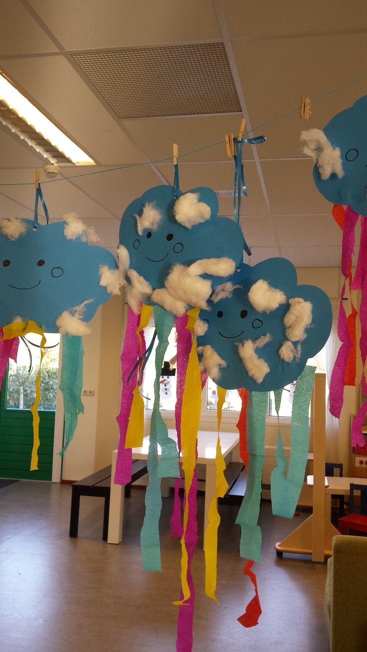 Thema het weer. Een wolk knutselen met watten en van crêpepapier een regenboog plakken.