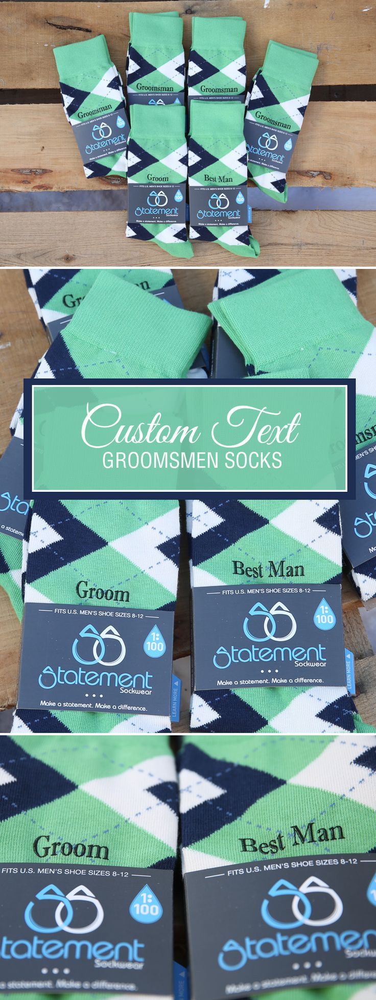Looking for a way to customize your clover green and navy wedding? We customize our most popular wedding colors with wedding dates, wedding text and monograms. Give your groomsmen in your wedding a gift they will never forget that will always remind them of your big wedding day: custom clover green navy groomsmen socks.