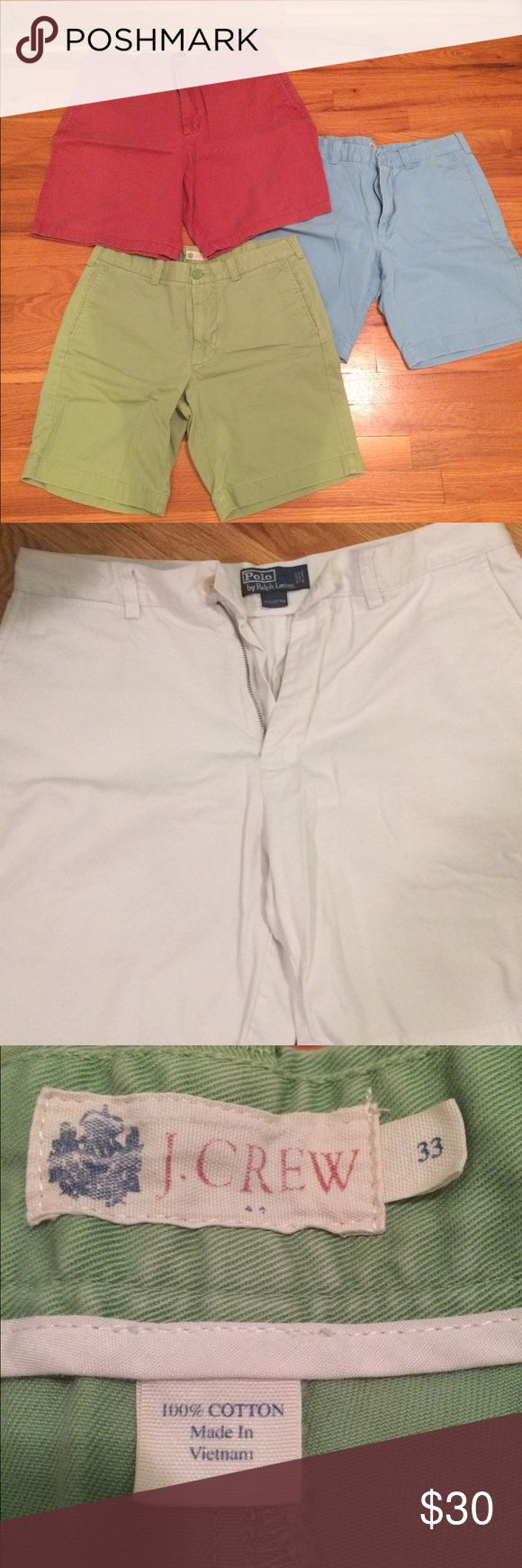 J Crew, Club Room, and Polo khaki shorts. All in great shape. All size 33. Selling as a bundle. J. Crew Shorts Cargo