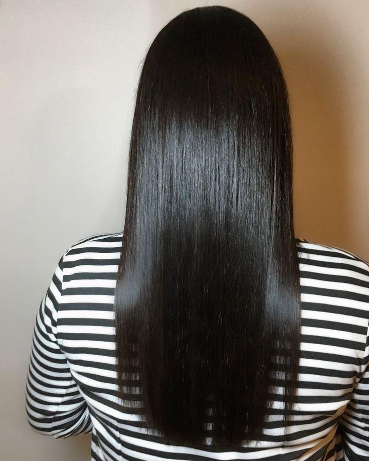 Dark silky straight long brown hair