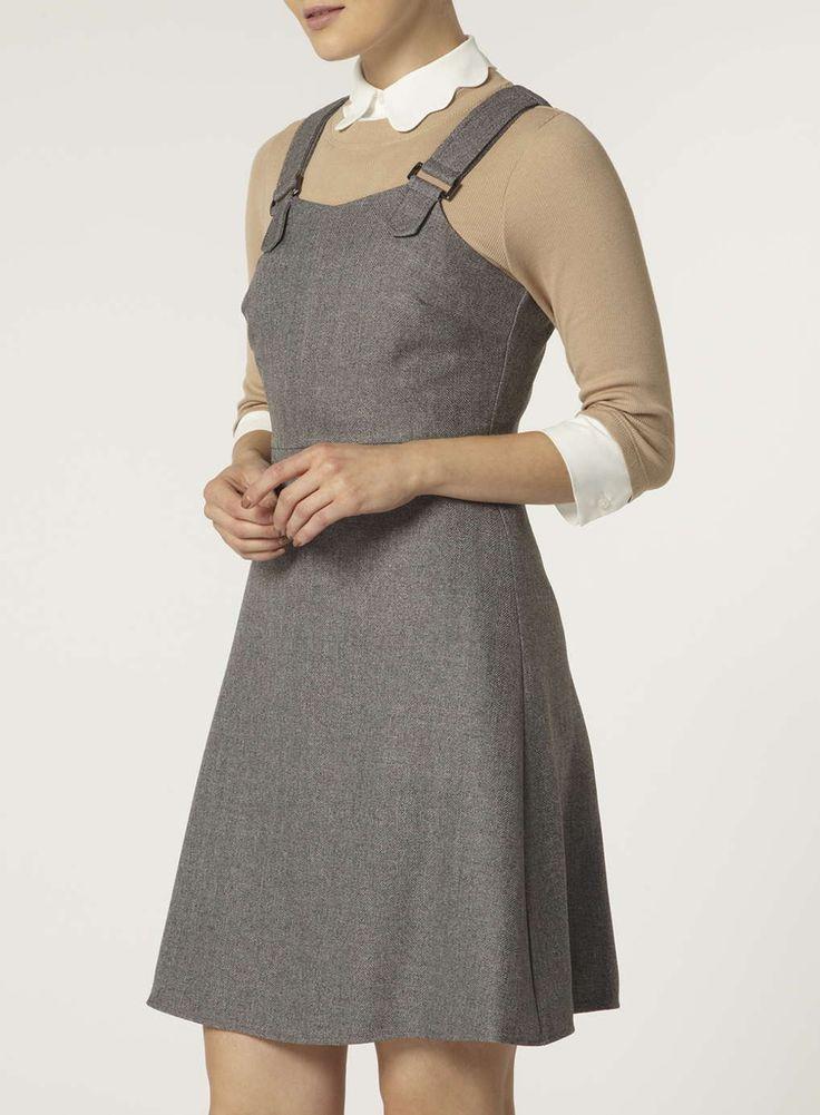 Grey Herringbone Pinny Dress - Dorothy Perkins