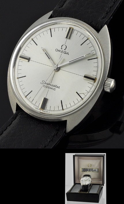 """1960's OMEGA SEAMASTER COSMIC measures 35mm. and appears larger on the wrist due to its """"C"""" shape."""