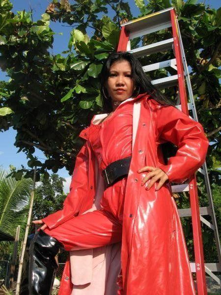 Red PVC Raincoat: