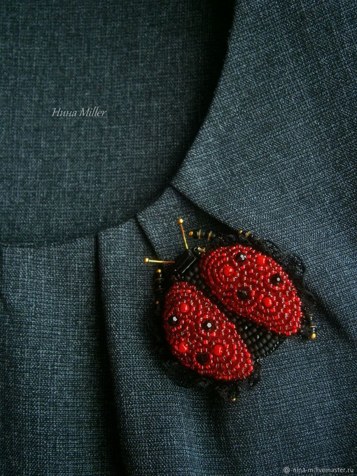 Beaded Brooch LADYBUG – shop online on Livemaster with shipping
