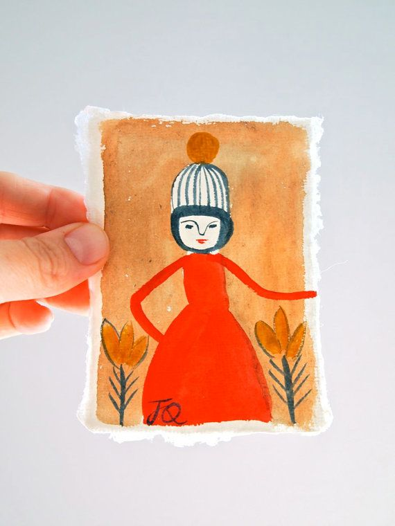 "miniature water colour folk painting by Jess Quinn | ""gathering time in a red dress"""