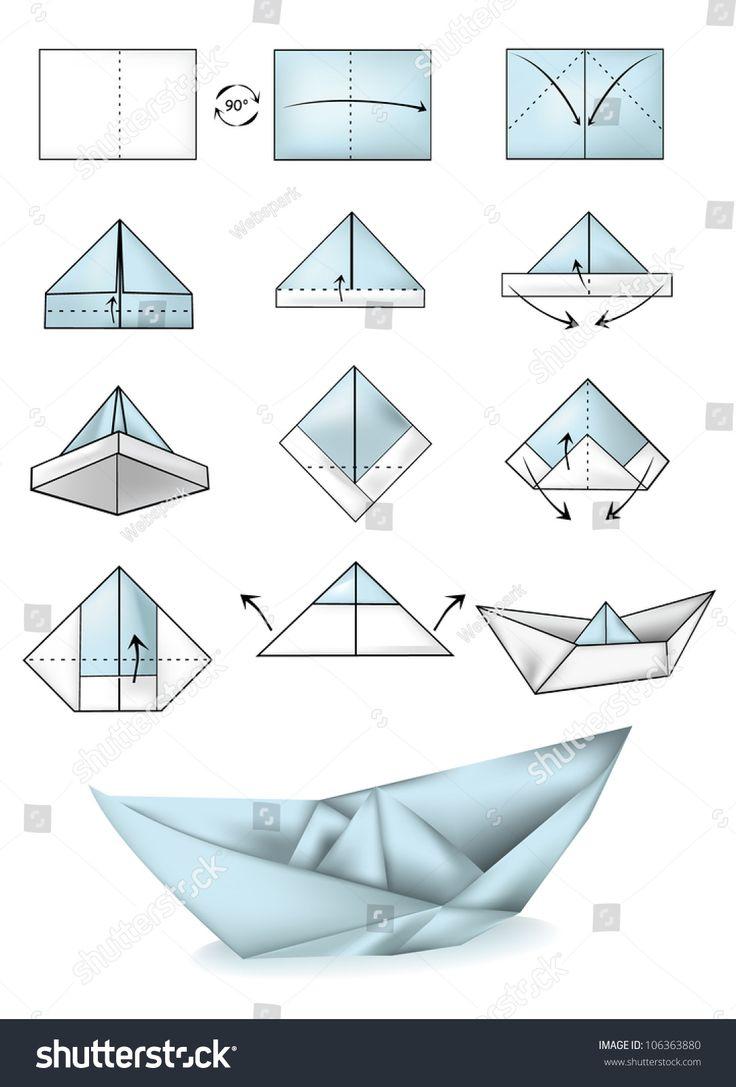 Paper boat instructions illustration tutorial | Origami boot. Papierschiff basteln