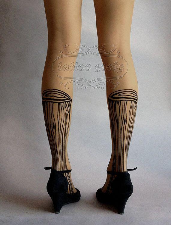 S/M sexy Wooden Legs tattoo tights / stockings/ by tattoosocks
