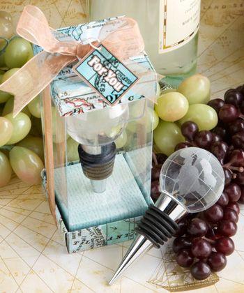 Glass globe design wine bottle stopper favors
