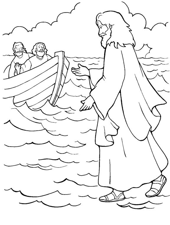 Jesus Walking On Water Coloring Page Pages Hello Kitty