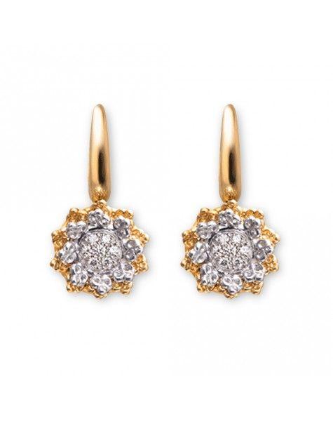 Pendientes Reina de oro amarillo, oro blanco y diamantes de talla brillante. Una pieza que forma parte de la colección Tesoros del Imperio de Carrera y Carrera.