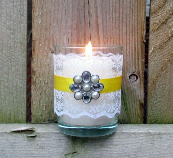 Wedding Votive Candle Holder / Shabby Chic by CarolesWeddingWhimsy.   set of 6, Yellow Ribbon and White Lace  Wedding Ceremony Votive Candle Holder with Rhinestone and Pearl Charm - Daisy Wedding Decoration - You can find it here https://www.etsy.com/listing/189048825/wedding-votive-candle-holder-shabby-chic