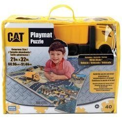 CAT Foam Playmat Puzzle by Mega Puzzles. $29.99. This Mega Brands World of CAT Foam Playmat Puzzle features 50 fully interlocking pieces that come together to form mini roads and construction sites. This CAT-themed play set comes with a mini-dump truck.   Made by Mega Brands Model: 50672 Comes with CAT mini-dump truck Features 50 pieces of interlocking playmat Assembled playmat is 32 inches long x 21 inches wide Recommended for ages 3 years and older