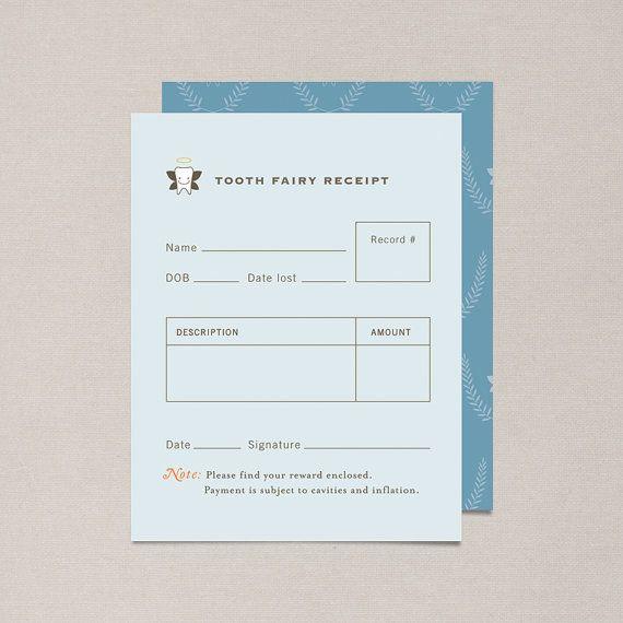 Adorable tooth fairy receipts  DIY Printable Tooth Fairy Receipt by NocciolaDesign on Etsy, $3.00